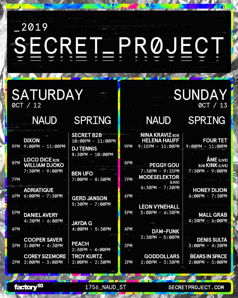 Secret Project Festival 2019 Set Times