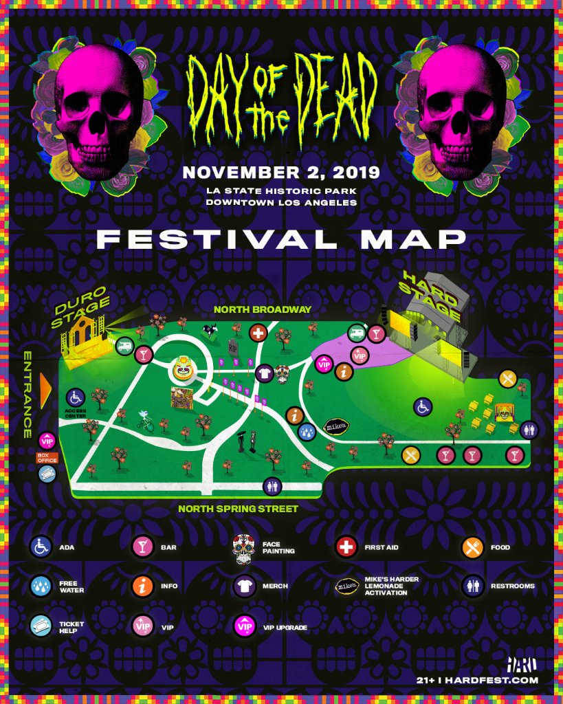 HARD Day of the Dead 2019 Festival Map