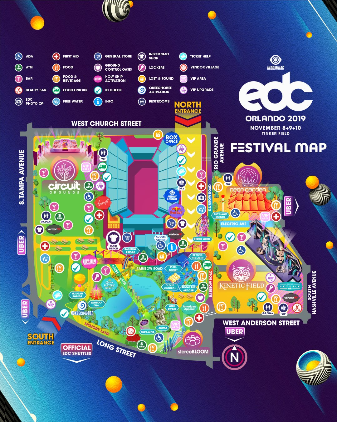 EDC Orlando 2019 Festival Map