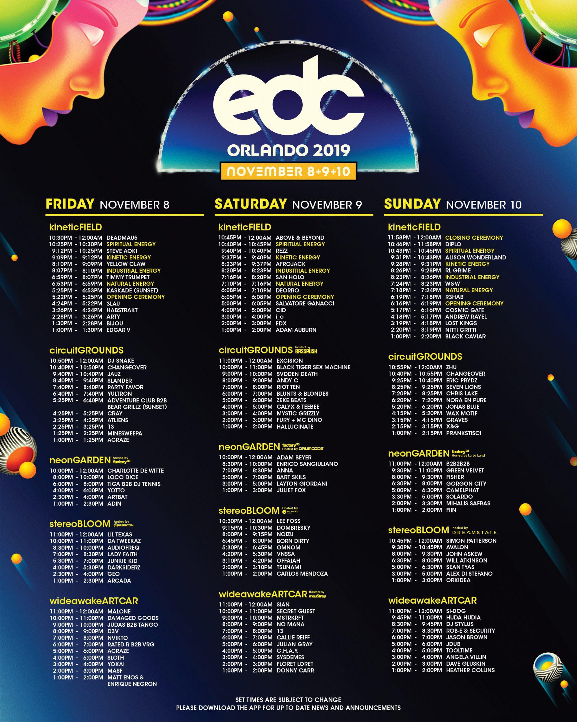 EDC Orlando 2019 Set Times