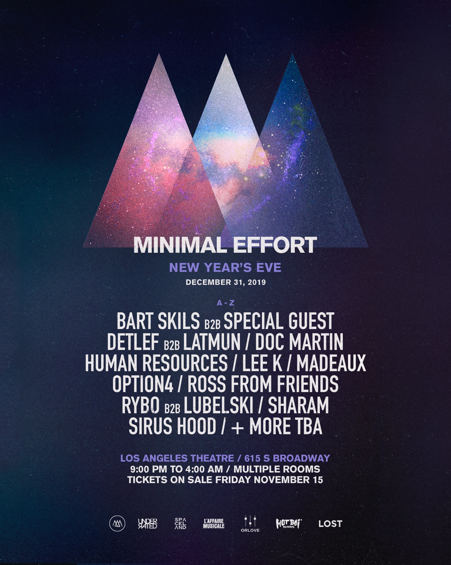 Minimal Effort: New Years Eve 2019 - Phase 1 Lineup
