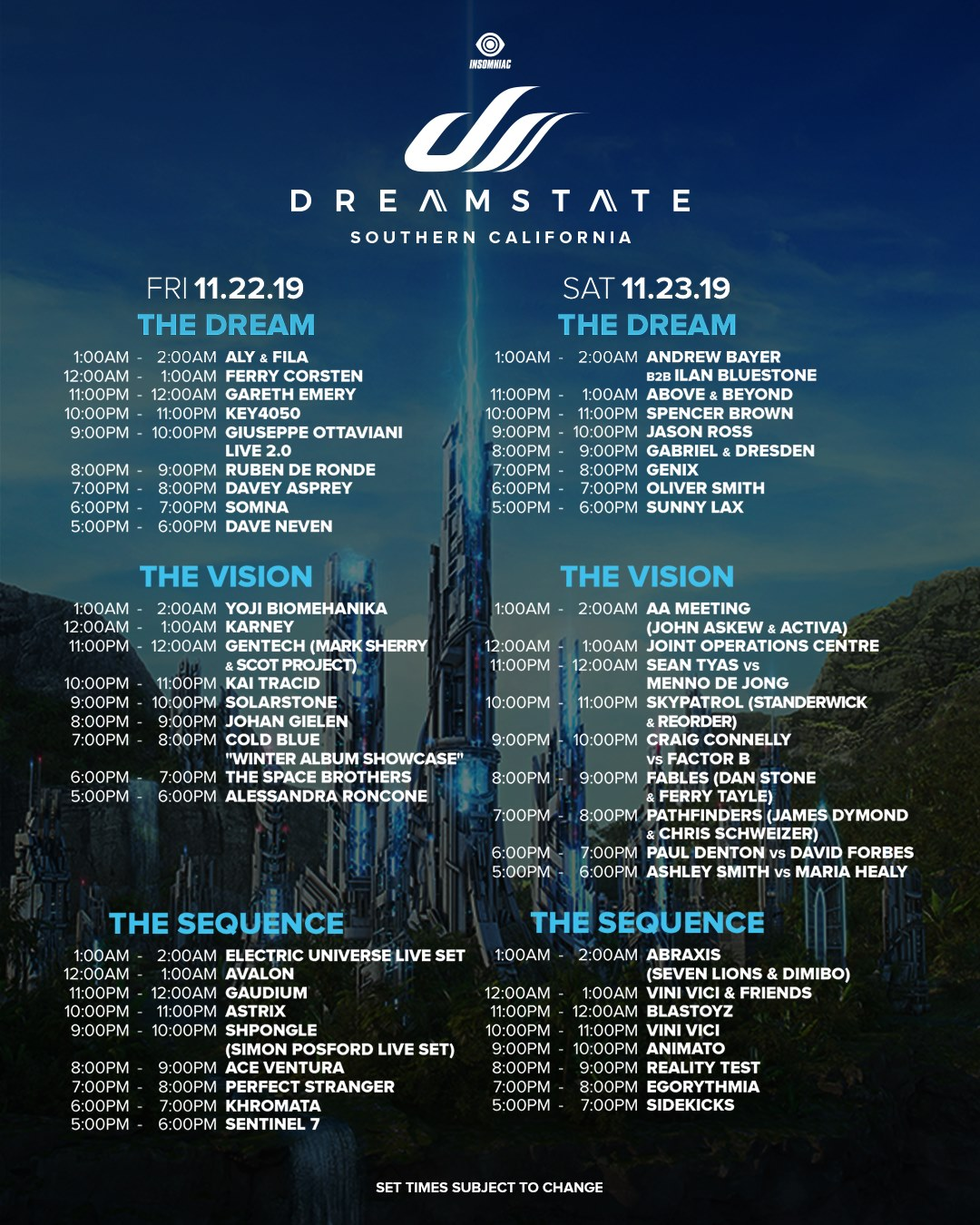 Dreamstate SoCal 2019 Set Times