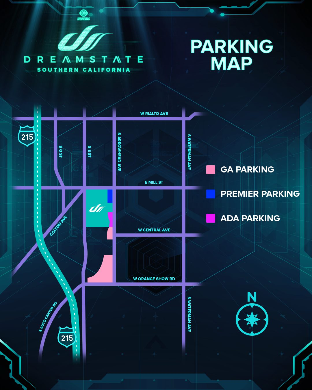 Dreamstate SoCal 2019 Parking Map