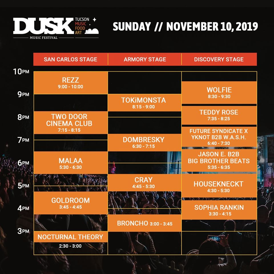 Dusk Sunday Set Times