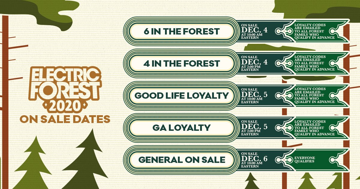 Electric Forest Loyalty and General Sale Info