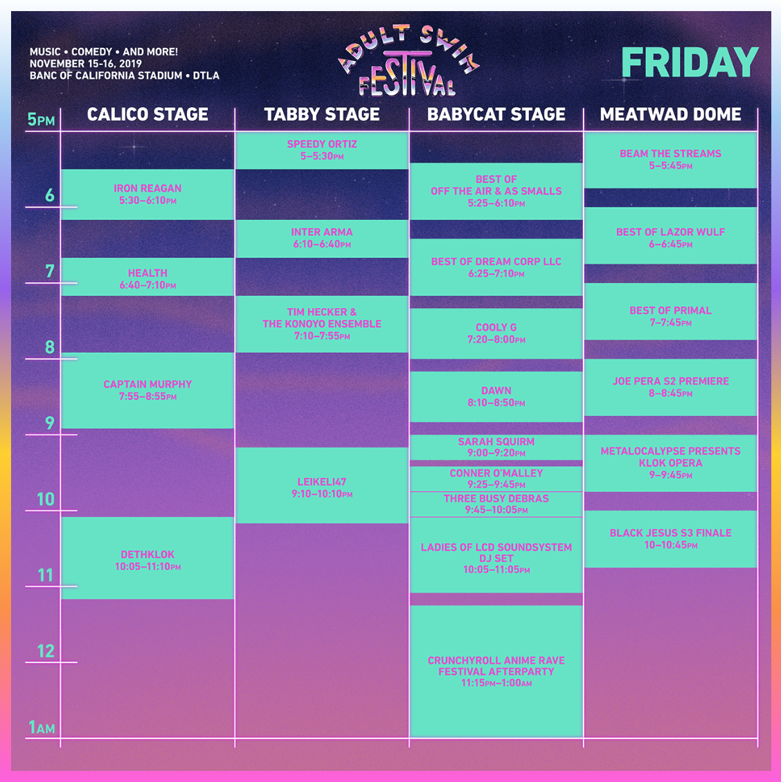 Adult Swim Festival 2019 - Friday Set Times