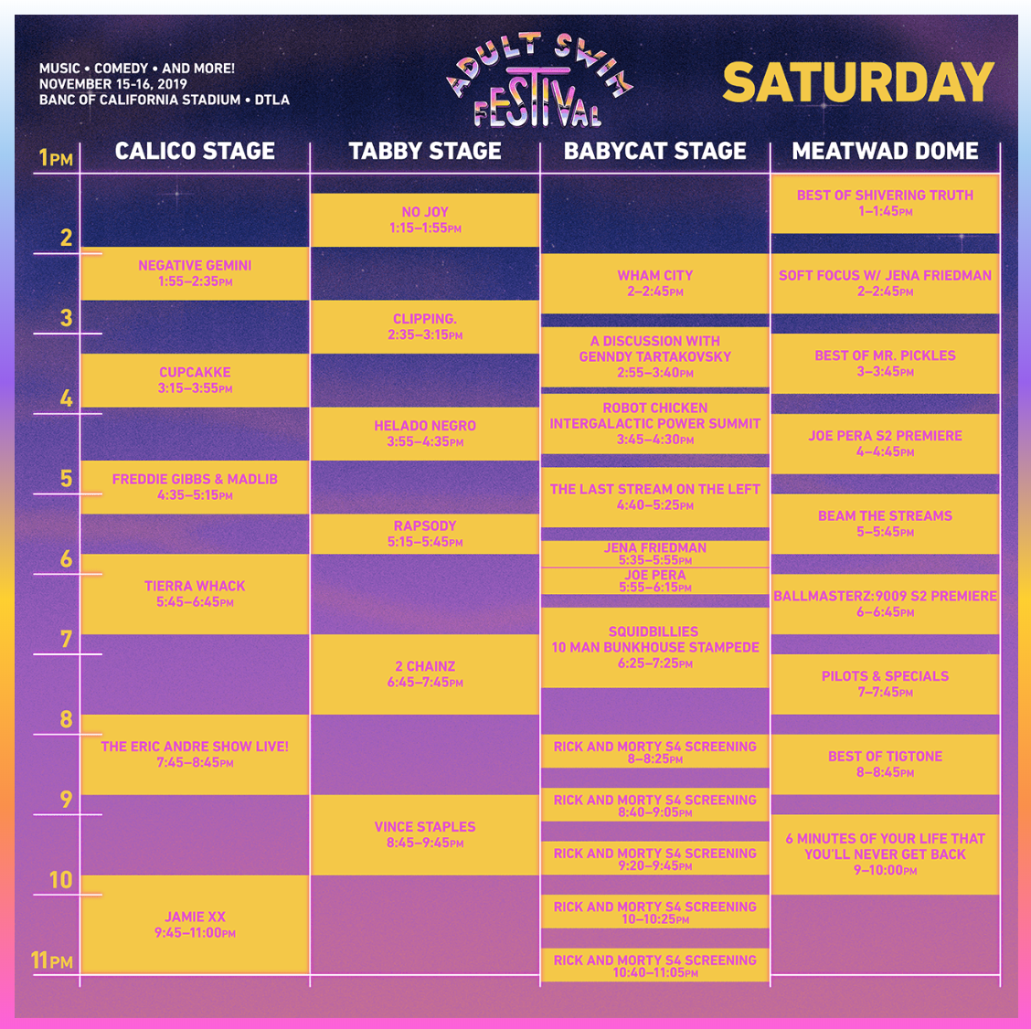 Adult Swim Festival 2019 - Saturday Set Times
