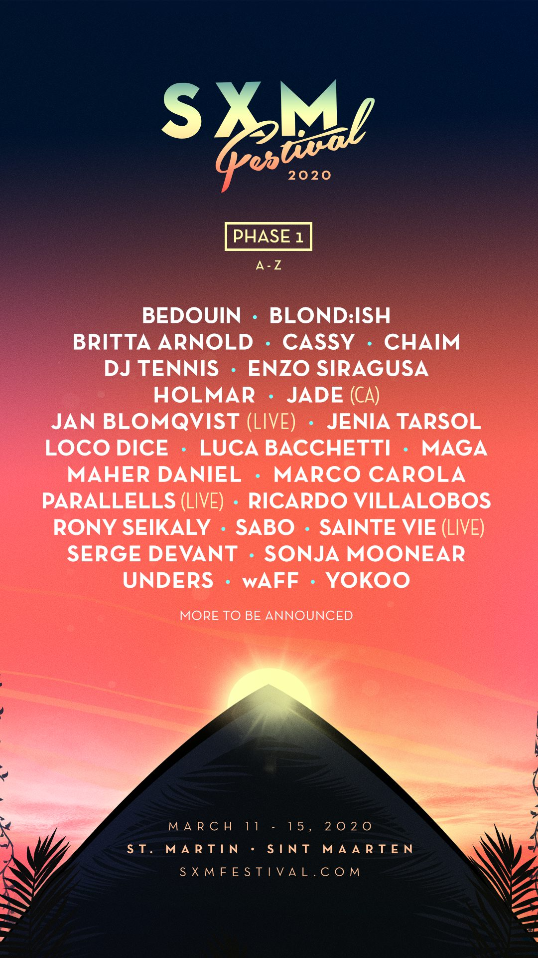 SXM Festival 2020 - Phase 1 Lineup