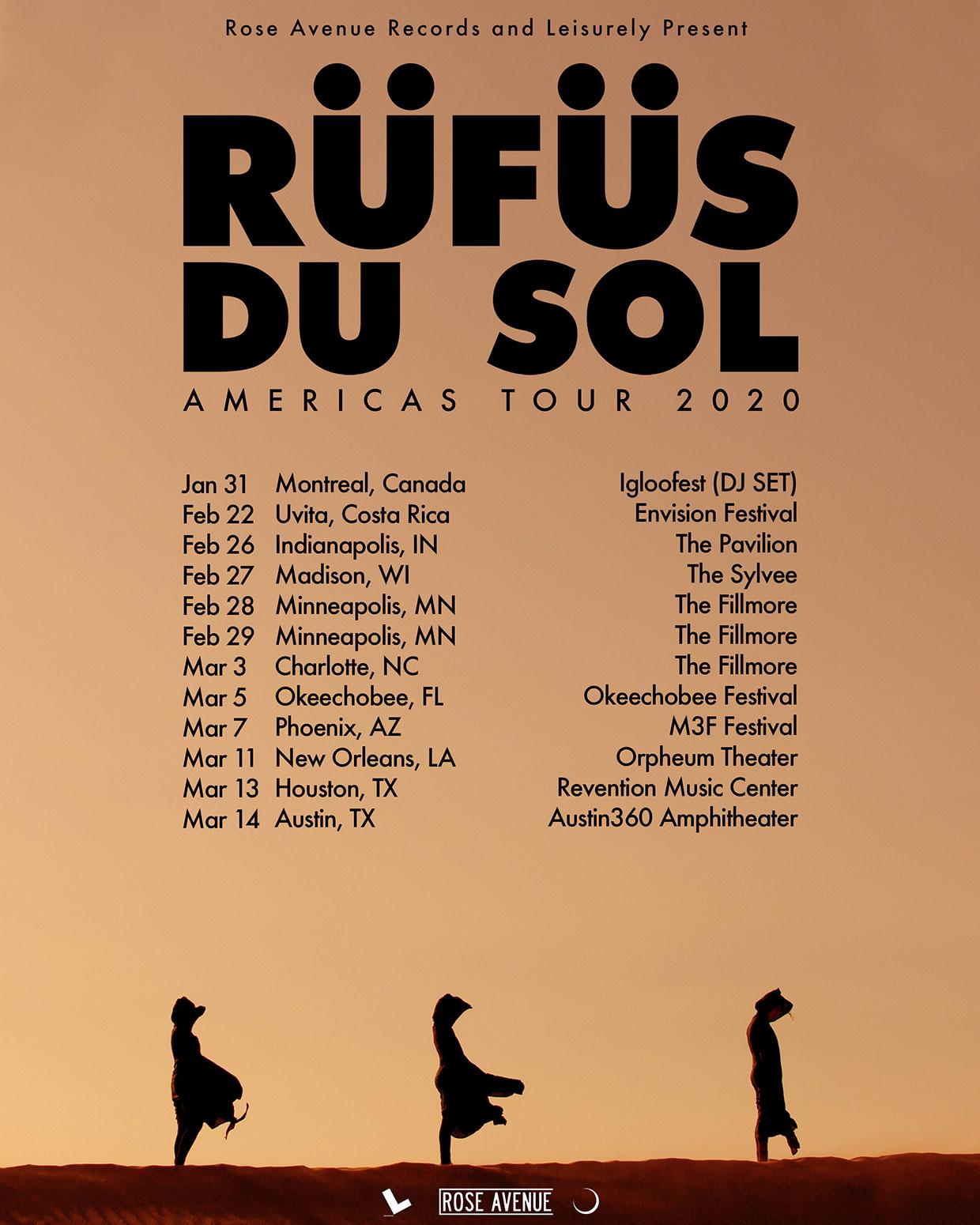 Rufus Du Sol Americas Tour 2020