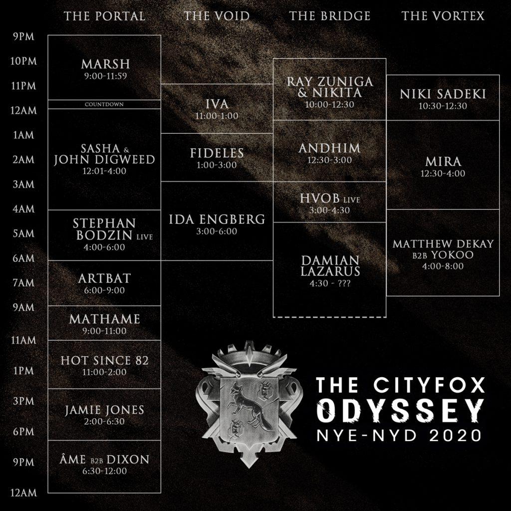 Cityfox Odyssey Set Times