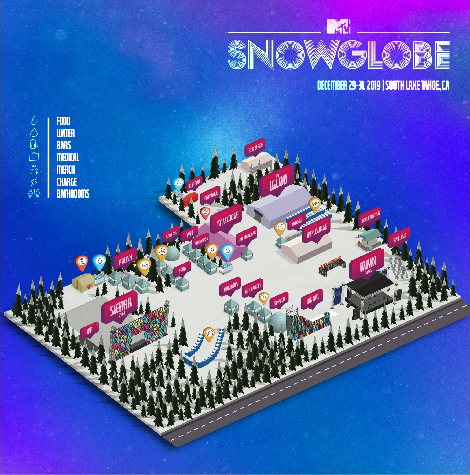 SnowGlobe 2019 Festival Map