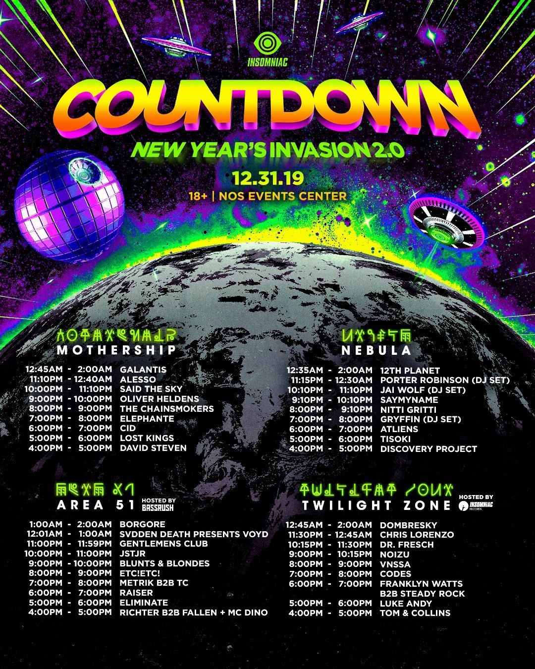 Countdown NYE 2019 Set Times
