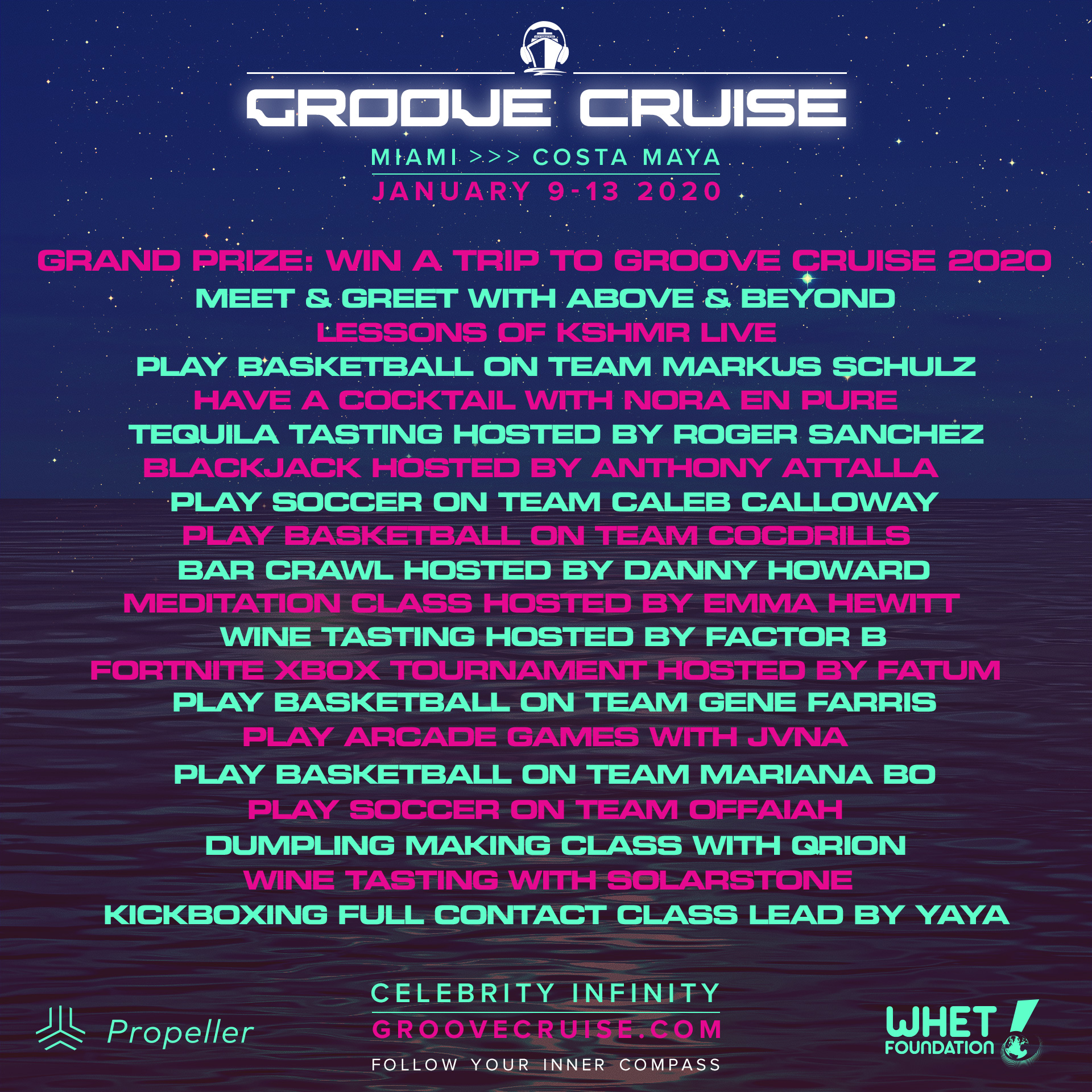Groove Cruise Miami 2020 Artist Activities