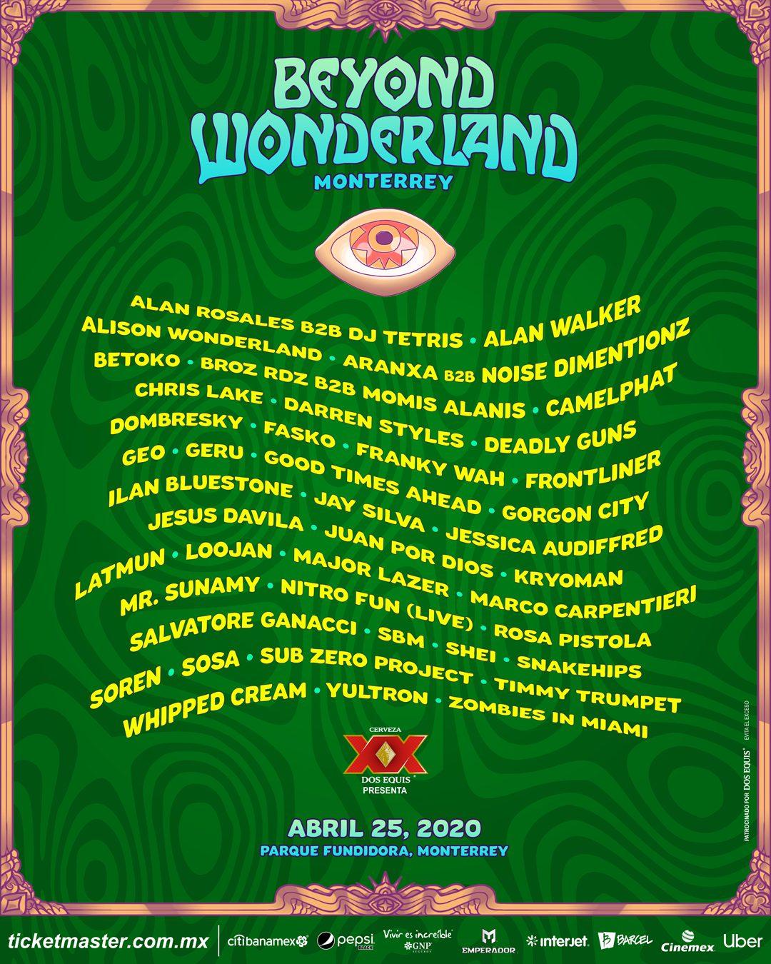 Beyond Wonderland Monterrey 2020 Lineup