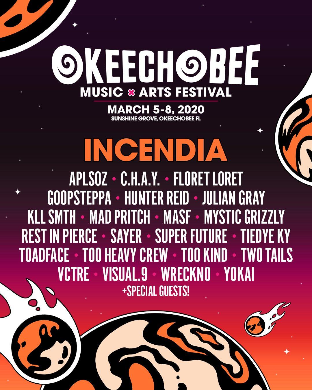 Okeechobee 2020 Incendia Stage Lineup