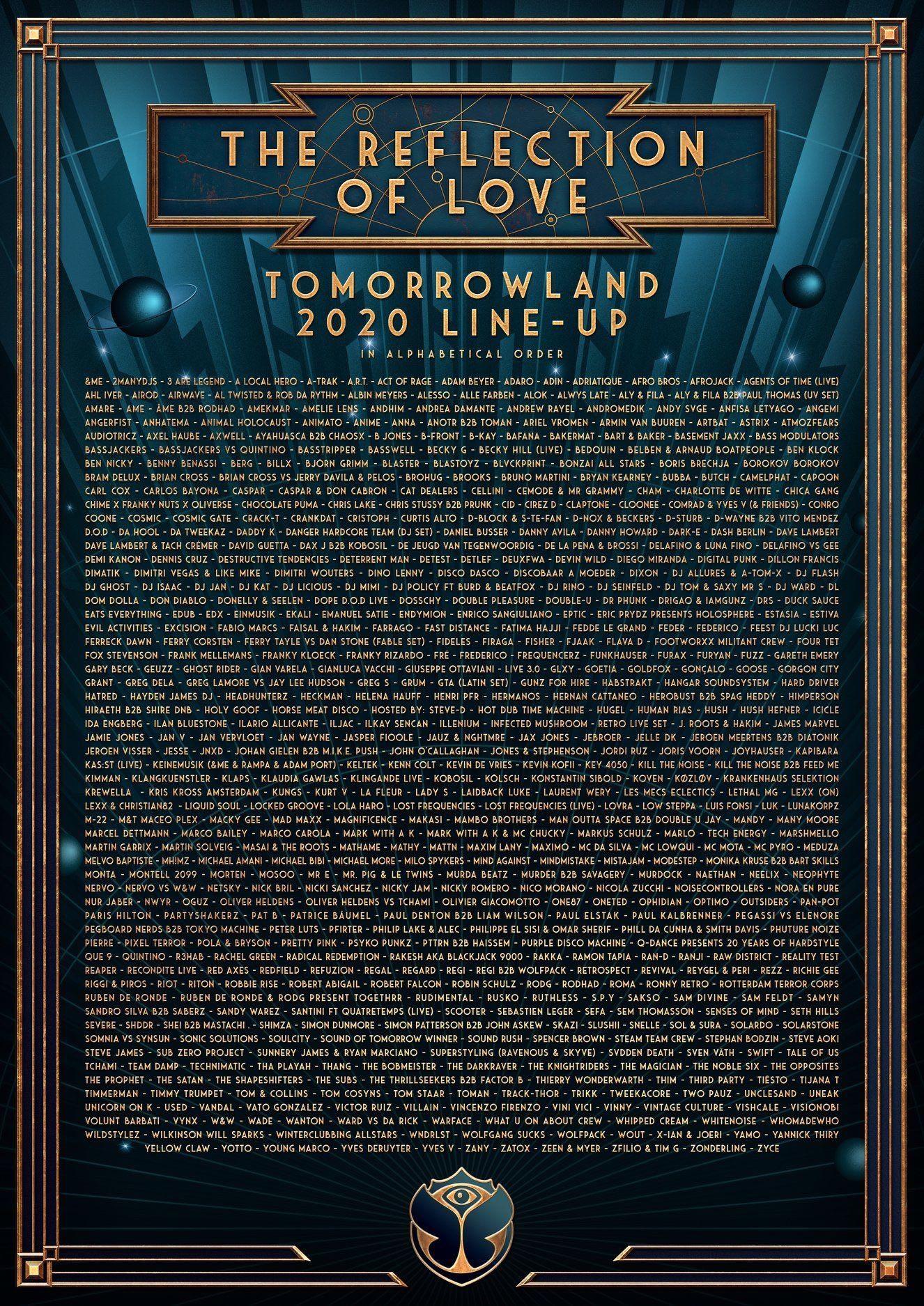 Tomorrowland 2020 Lineup
