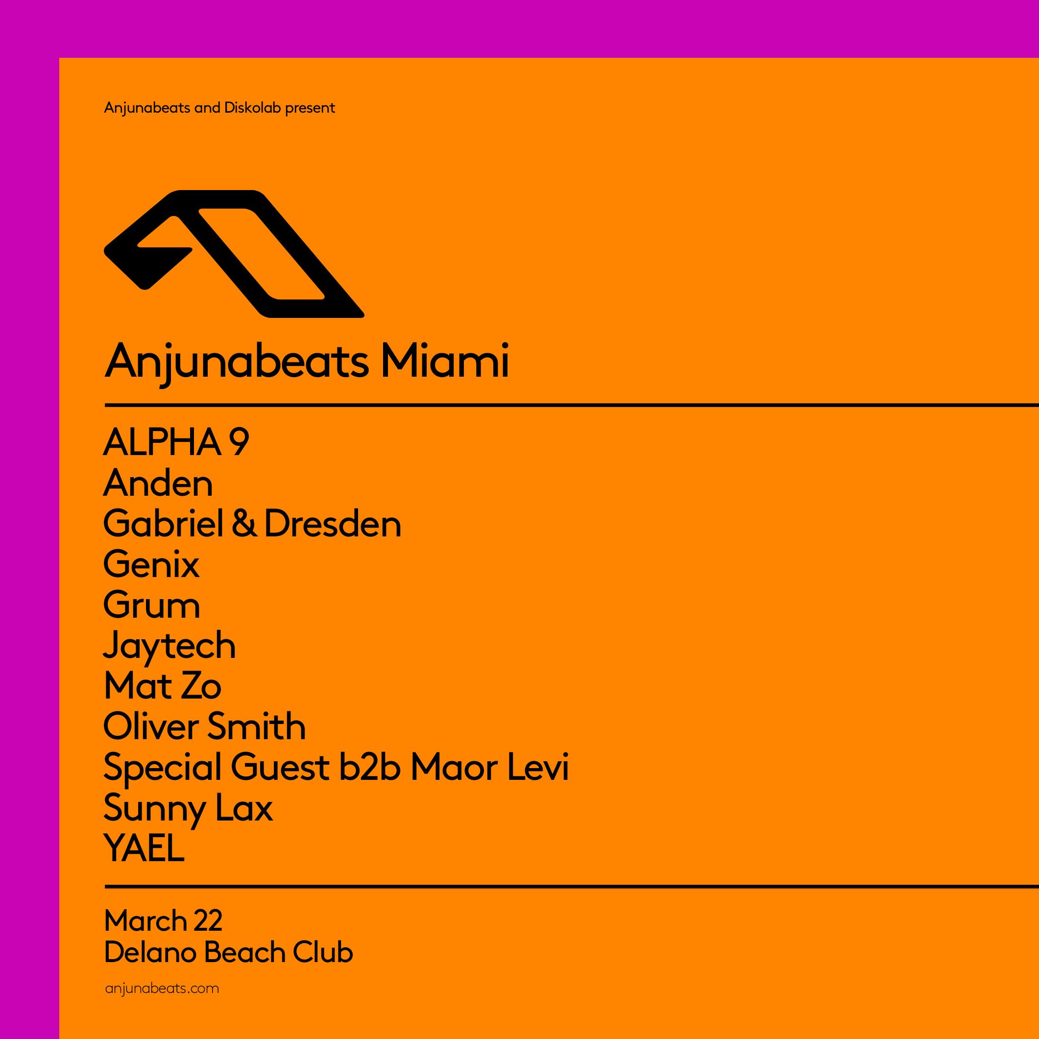 Anjunabeats Miami 2020 Lineup