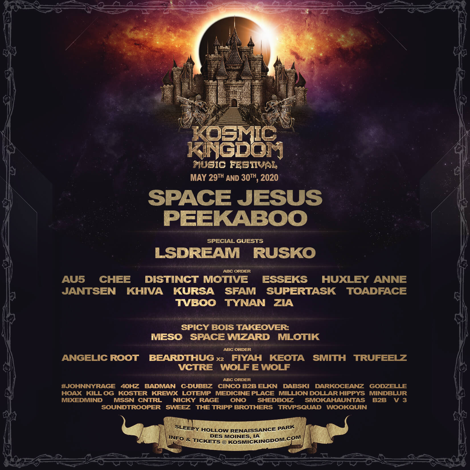 Kosmic Kingdom Music Festival 2020 Lineup