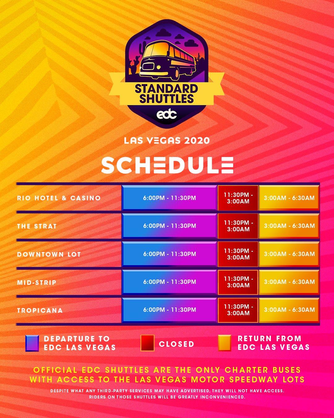 EDC Las Vegas 2020 Standard Shuttle Schedule