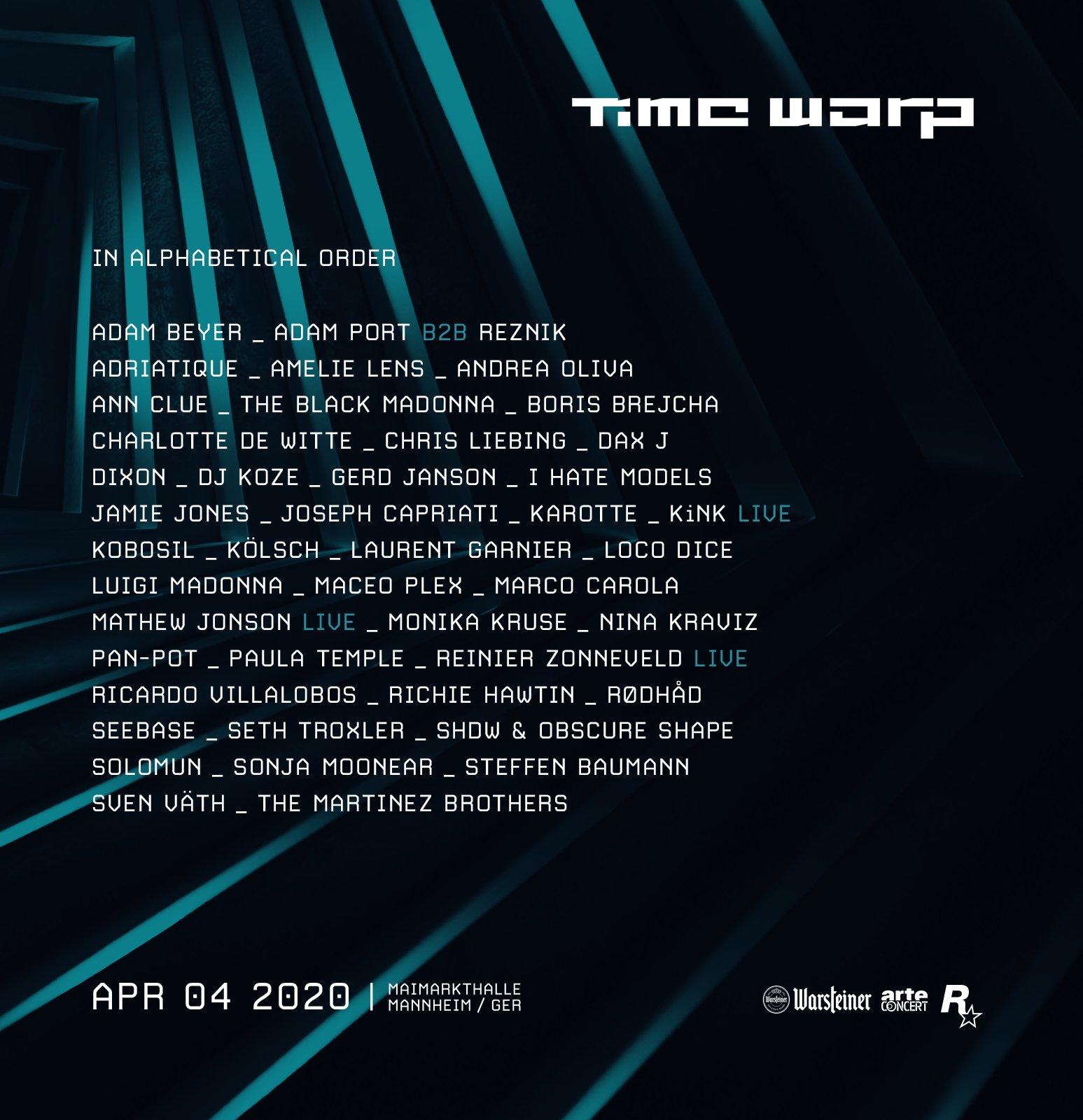 Time Warp 2020 Lineup
