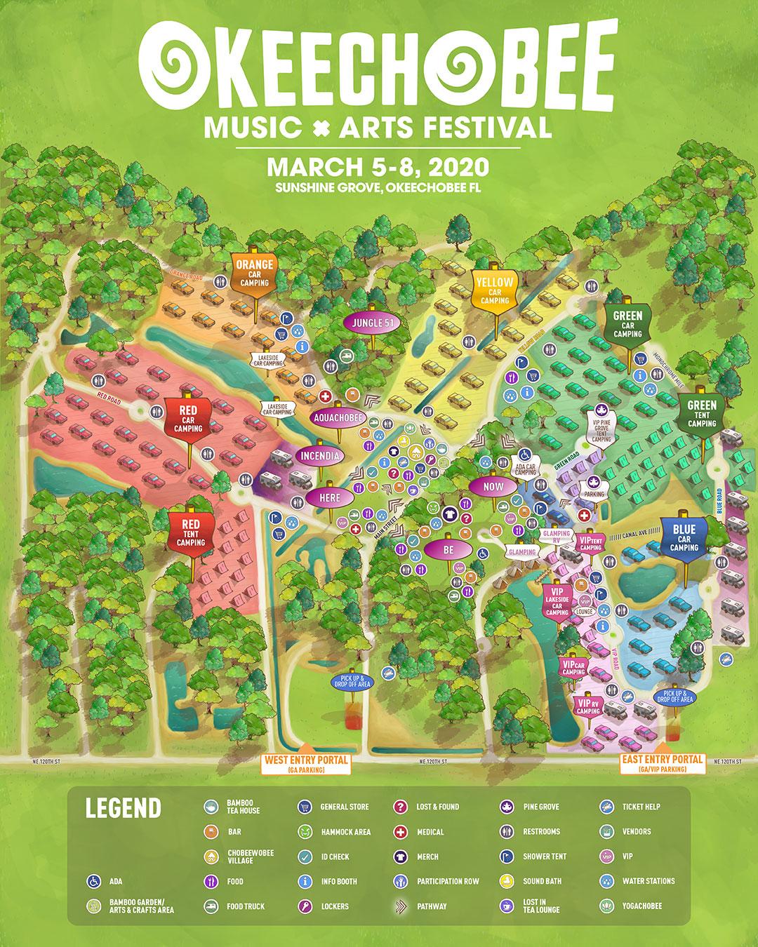 Okeechobee 2020 Festival Map