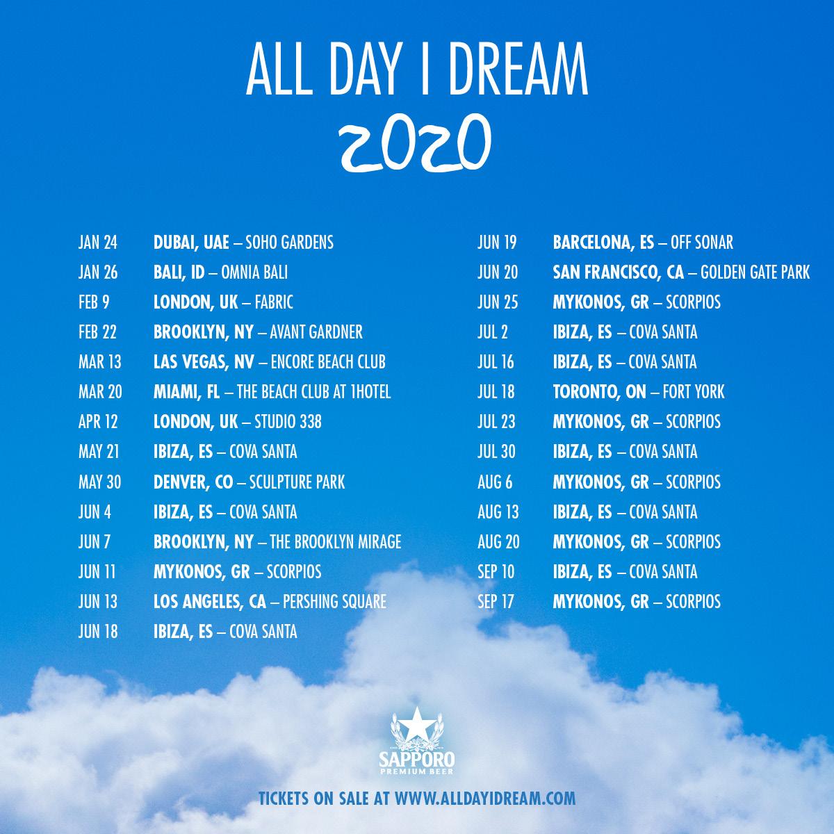 All Day I Dream 2020 Tour