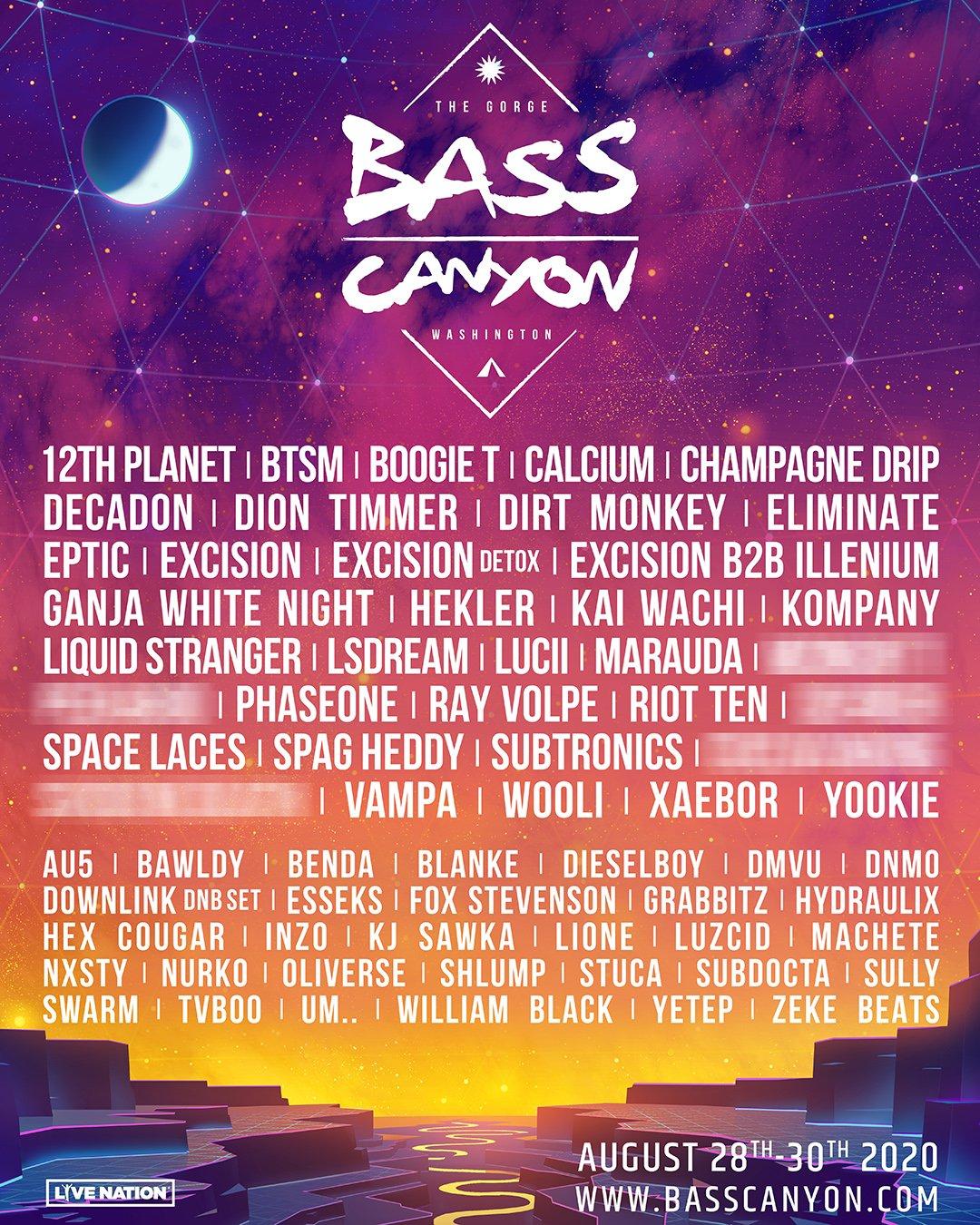 Bass Canyon 2020 Lineup