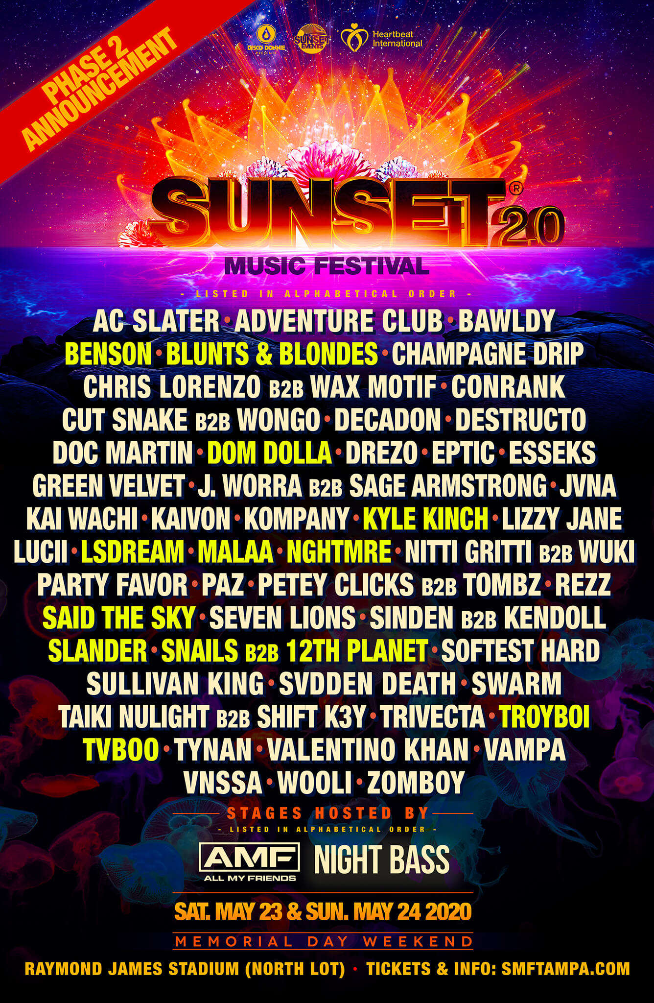 Sunset Music Festival 2020 Phase 2 Lineup