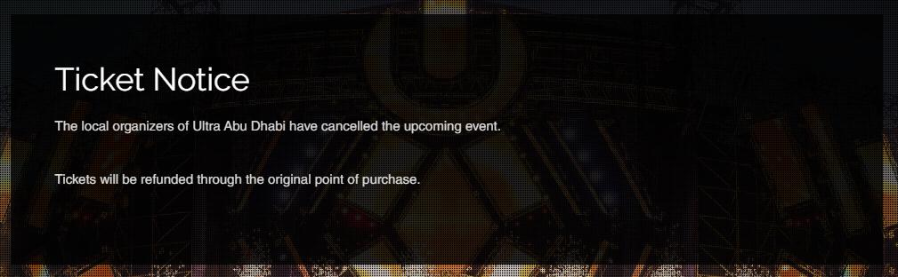 Ultra Abu Dhabi Cancellation Notice