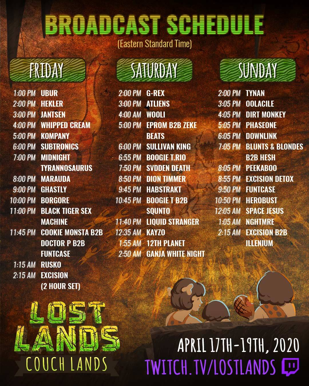 Couch Lands Virtual Festival - Broadcast Schedule