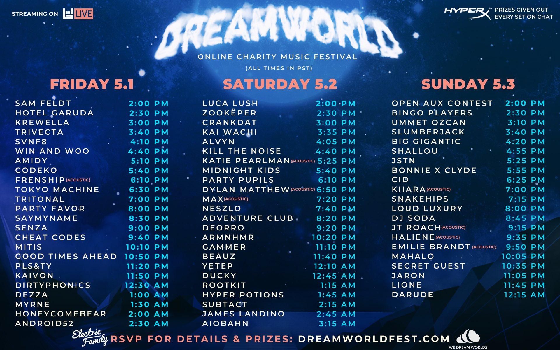 Dreamworld Online Charity Festival - Schedule