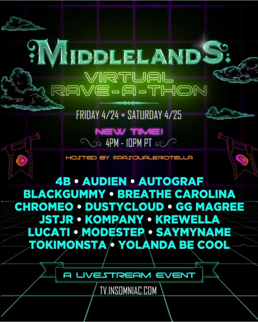 Middlelands Virtual Rave-a-Thon Lineup