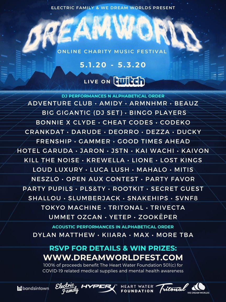 Dreamworld Online Charity Music Festival 2020 Lineup