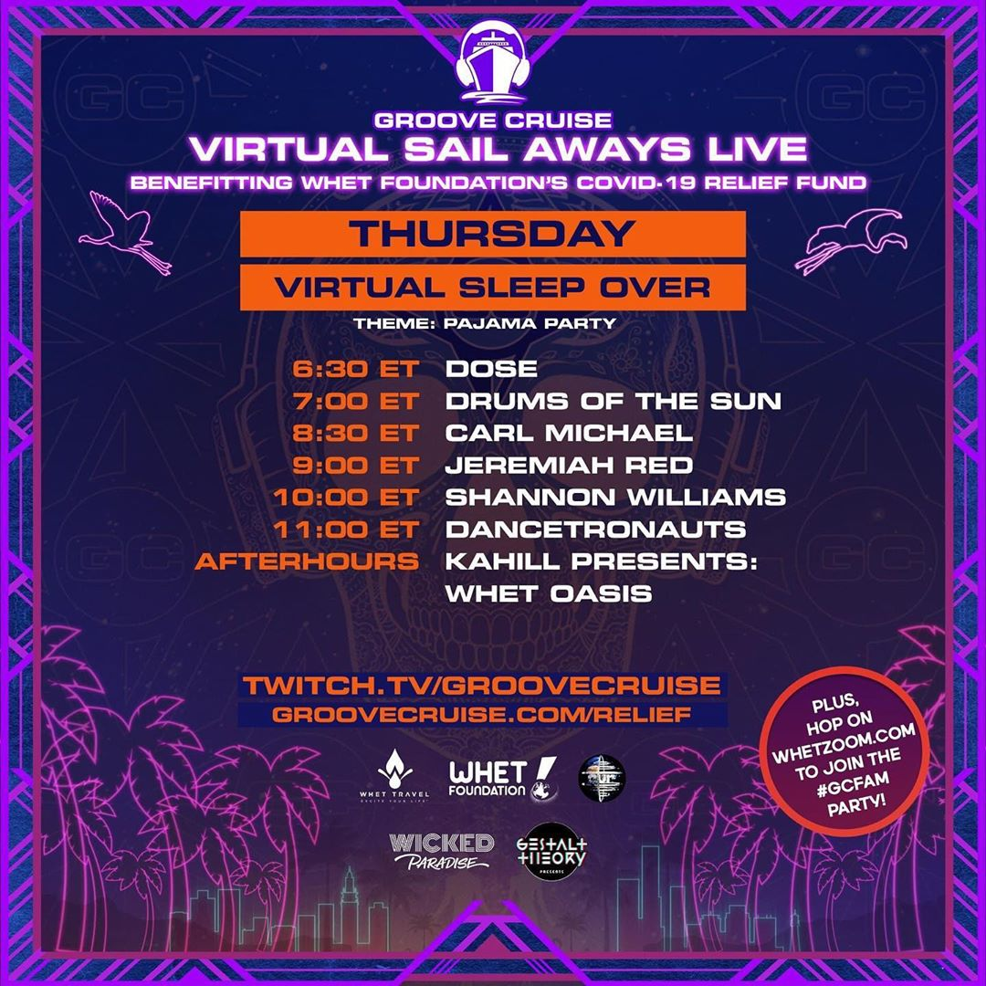 Groove Cruise Virtual Sail Aways Live - Memorial Day Weekend Schedule Thursday