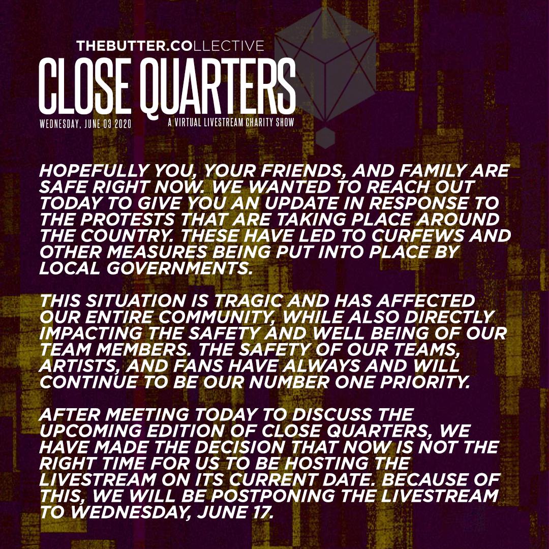 Close Quarters Postponed