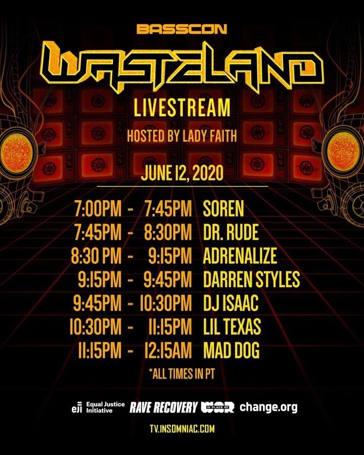 Basscon Presents Wasteland Livestream - Schedule June 12