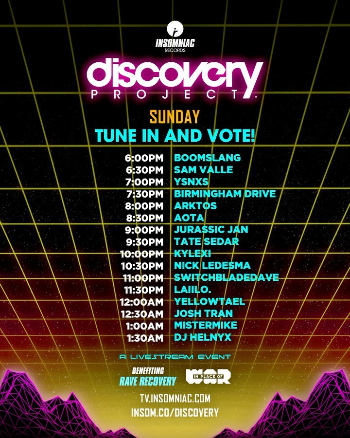 Discovery Project Rave-A-Thon Schedule - Sunday