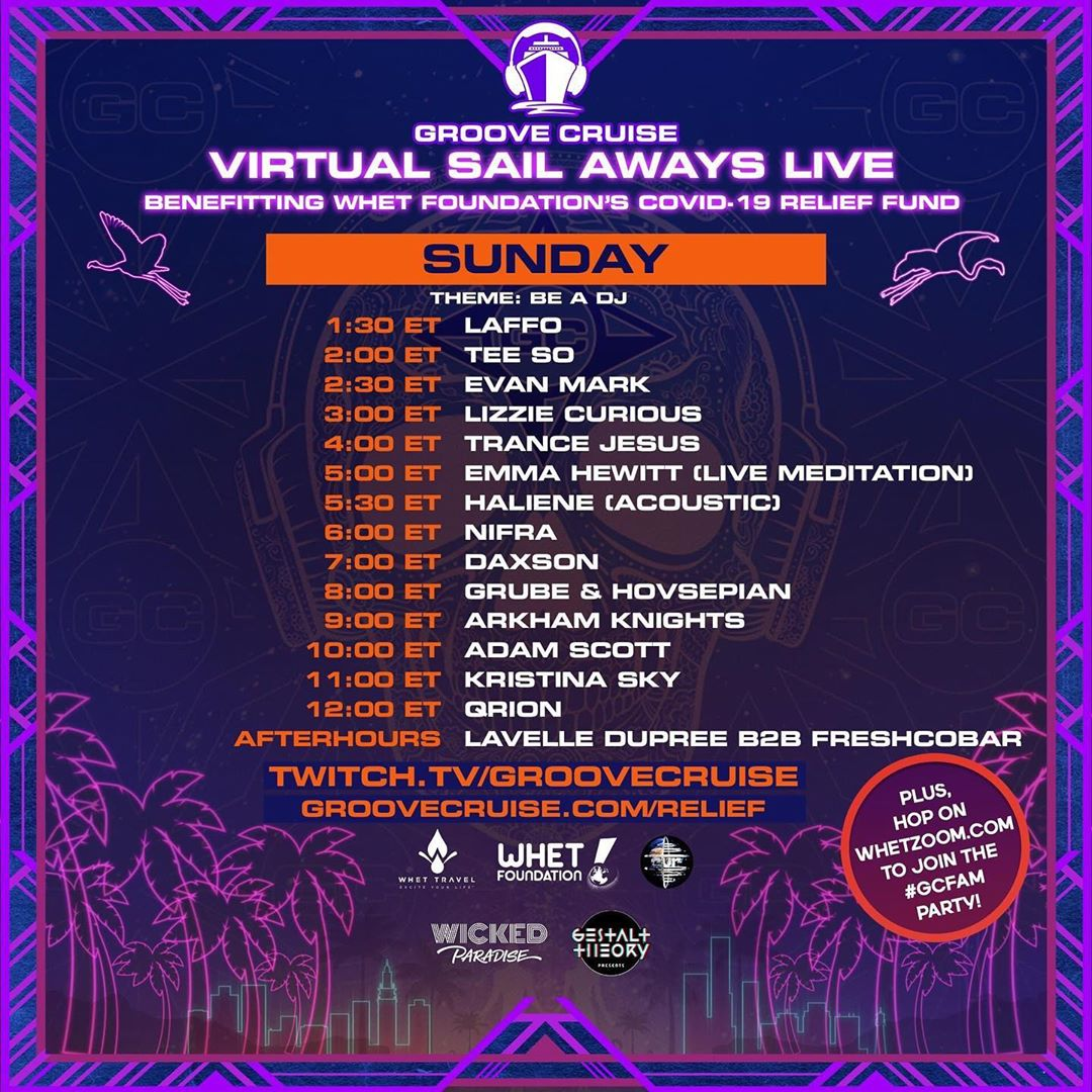 Groove Cruise Virtual Sail Aways Live - Memorial Day Weekend Schedule Sunday