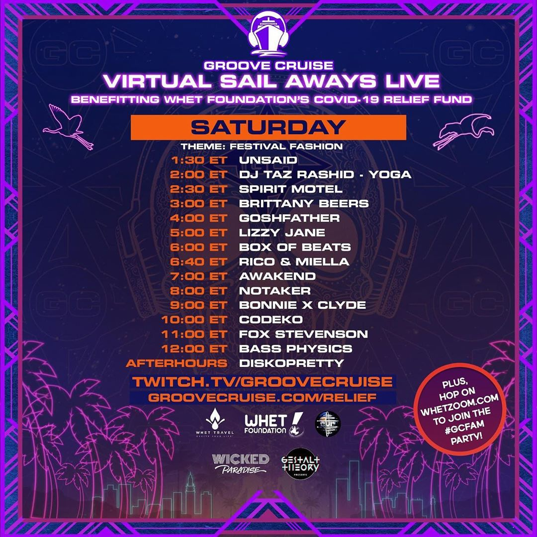 Groove Cruise Virtual Sail Aways Live - Memorial Day Weekend Schedule Saturday