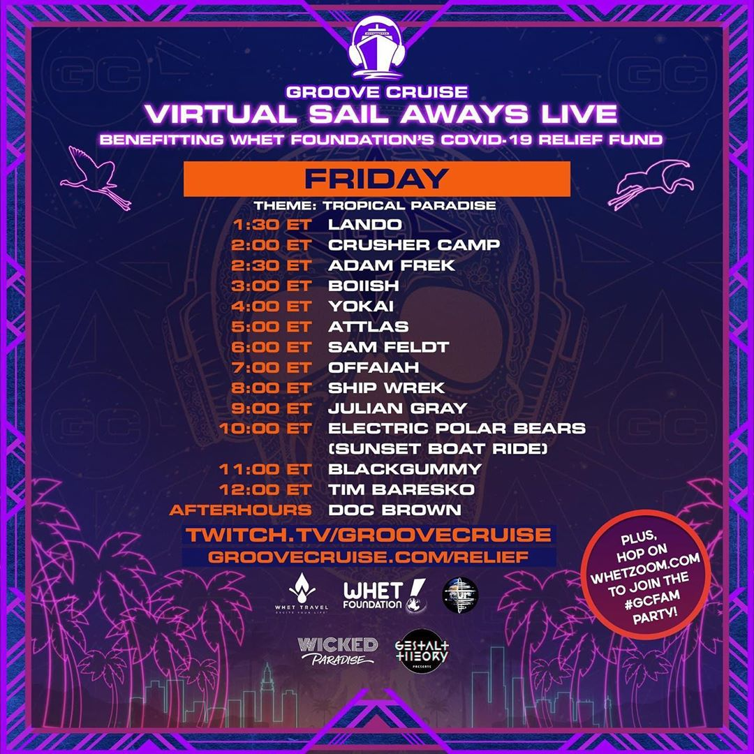 Groove Cruise Virtual Sail Aways Live - Memorial Day Weekend Schedule Friday