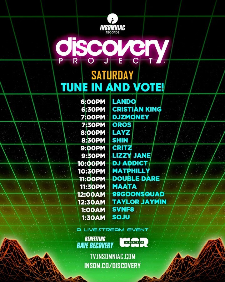 Discovery Project Rave-A-Thon Schedule - Saturday