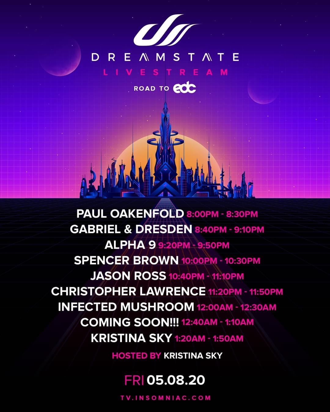 Dreamstate Livestream Schedule