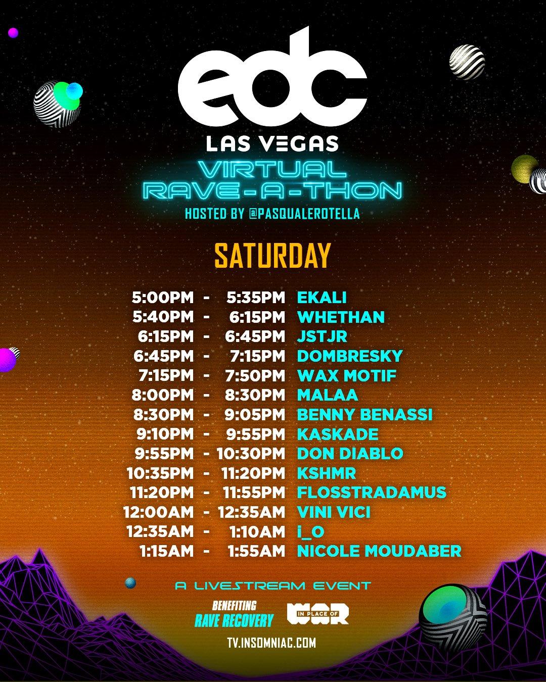 EDC Las Vegas Virtual Rave-A-Thon Schedule - Saturday
