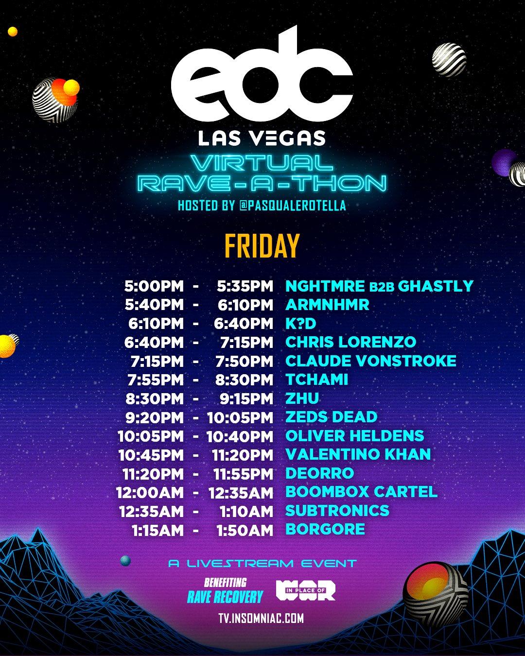 EDC Las Vegas Virtual Rave-A-Thon Schedule - Friday