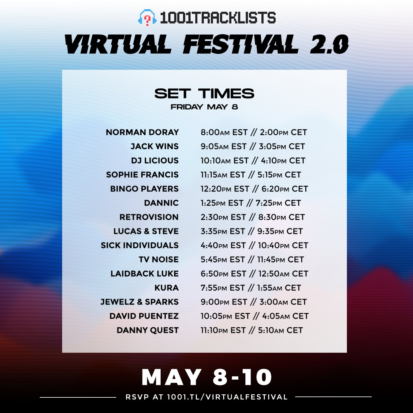 1001Tracklists Virtual Festival Schedule - Friday