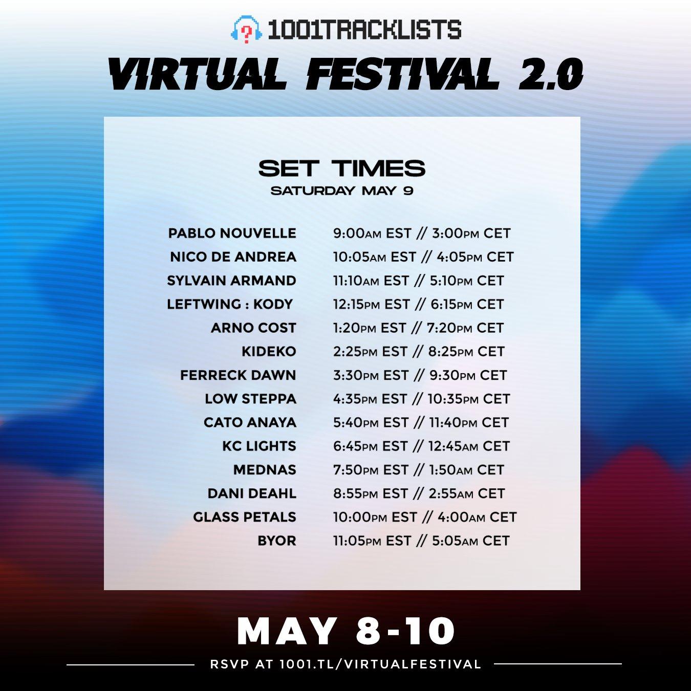 1001Tracklists Virtual Festival Schedule - Saturday