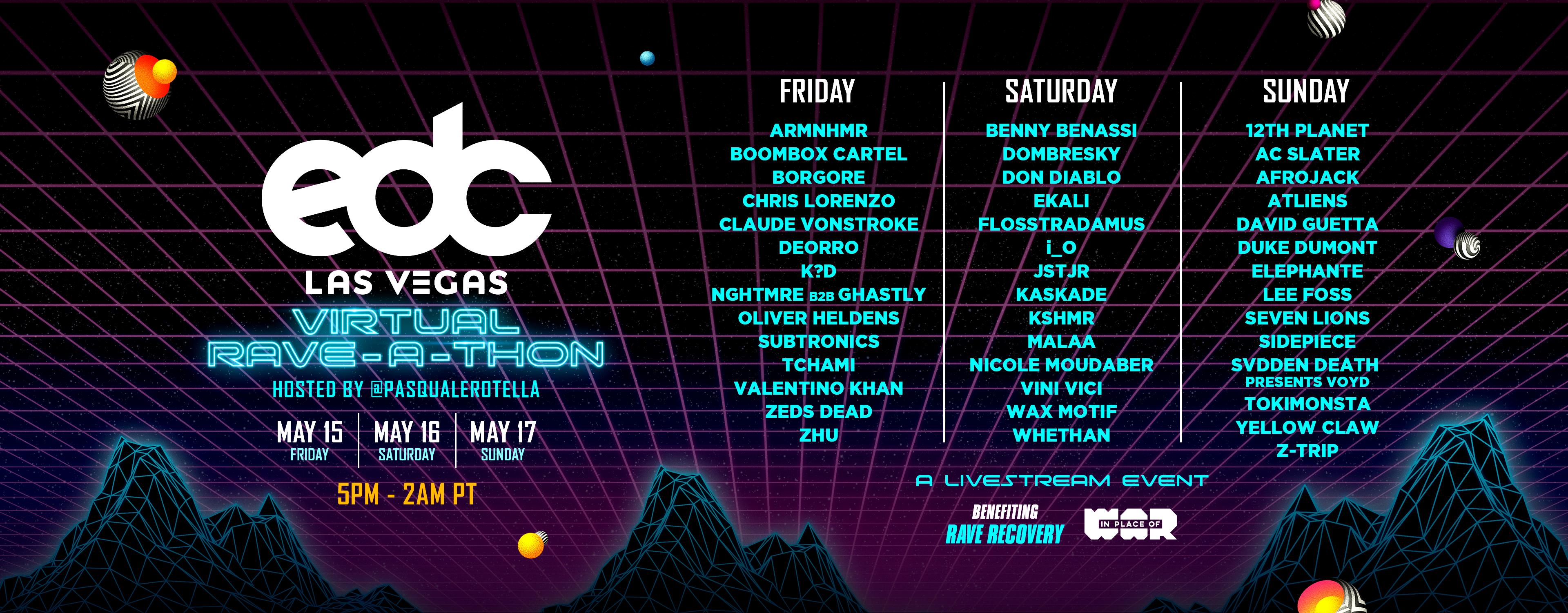EDC Las Vegas Virtual Rave-A-Thon Lineup By Day