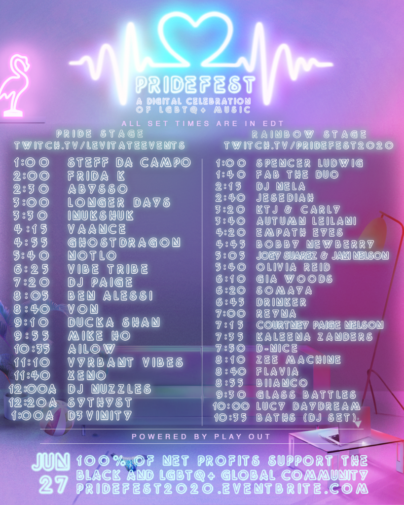 PrideFest 2020 Lineup and Schedule