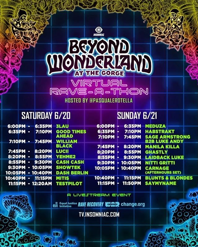 Beyond Wonderland at The Gorge Virtual Rave-A-Thon Schedule