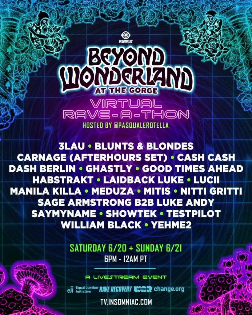 Beyond Wonderland at The Gorge Virtual Rave-A-Thon Lineup